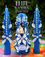 Очаг на свадьбу - набор из трех свечей №1036 (Синий с статуэткой и табличкой)