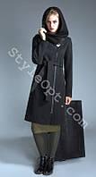 Зимнее женское шерстяное пальто с воротником-капюшоном