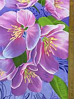 Ранфорс с 3д-рисунком Яблоневый цвет на голубом фоне, фото 1