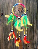 """Ловец снов """"Круг"""" цветной с перьями (8х8 см)"""