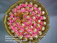 """Конфетный букет из 51шт  ferrero rocher """"Восторг""""розовый, фото 1"""