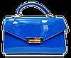 Женская стильная сумка из искусственной кожи лаковая синяя