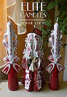 """Набір весільних свічок """"Сімейний очаг"""" №1043 (Коричневий з статуеткою)"""