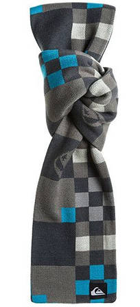 Современный мужской шарф 190х18 см. Quiksilver Warner M NKWR Dark Shadow 888256498471 серый/голоубой