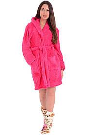 Халат женский флисовый  розовый М L