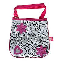 "Творчество и рукоделие «Color Me Mine» (6379148) Мини-сумочка ""Color Me Mine с блестками. Цветы"", 4 маркери, 19 см, 6+"