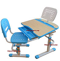 Комплект парта и стул-трансформеры + подставка, голубой