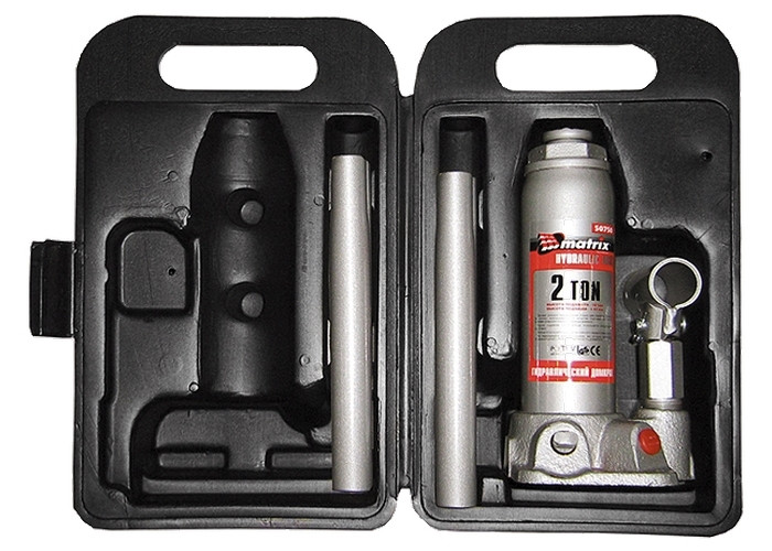 Домкрат гидравлический бутылочный, 2 т, h подъема 181–345 мм, в пласт. кейсе MATRIX MASTER