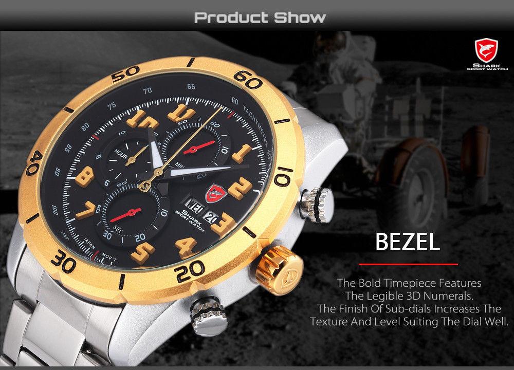 Мужские наручные часы Shark  3D Stainless Steel Silver Gold Date Day Quartz RS037S