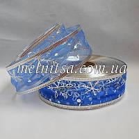 Новогодняя лента с проволочным краем, 3,8 см, цвет синий,