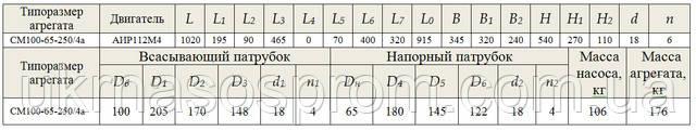 насос СМ 100-65-250/4б чертеж цена размеры производитель