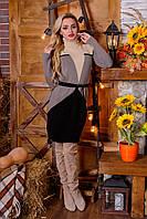 Теплое комбинированное платье, фото 1
