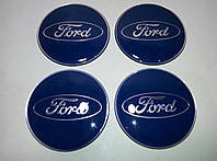 Наклейка выпуклая на колпачок диска Ford синяя 65 мм