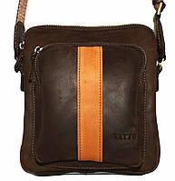 Кожаная мужская сумочка Mk48 коричневая