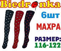 Колготки детские с махрой для девочек Biedronka Украина 116-122 размер в горошек  ЛДЗ-81