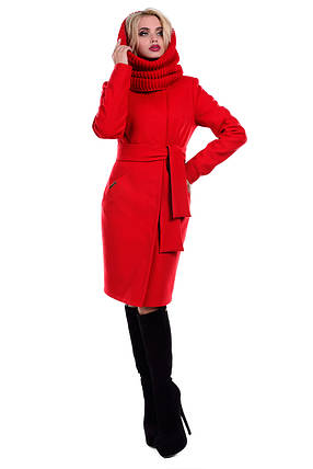 Женское красное зимнее кашемировое пальто арт. Луара лайт Турция элит зима хомут 6813, фото 2
