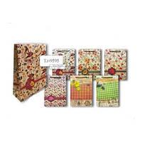 Пакет подарочный бумажный ВИНТАЖНЫЕ ЦВЕТЫ, 37*28*10см, микс 6 дизайнов