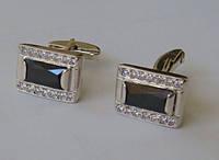 Запонки 60241ММ, серебро 925 пробы, кубический цирконий.