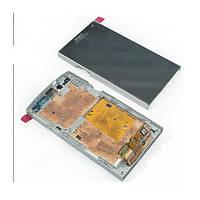 Дисплей для Sony LT26i Xperia S, LT26ii Xperia SL, с сенсором (тачскрином) и рамкой White