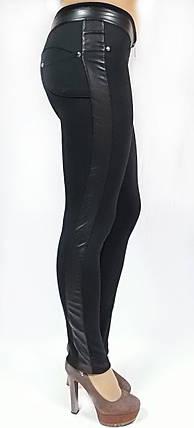 Жіночі брючні модель № 127 на змійці з шкіряними вставками, фото 2