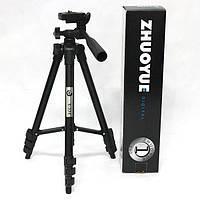 Штатив для фотоаппарата, проектора, камеры Zhuoyue ZY-334, 55-135см черный