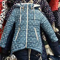Детская куртка-парка на флисе Хвостики