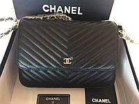 Элегантная сумочка CHANEL WOC CHEVRON натуральная кожа