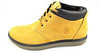 Ботинки  мужские  с мехом TOMI HILFIGER кожаные, желтые р.45