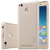 Чехол Nillkin Frosted для Xiaomi Redmi 3 Pro / Redmi 3s золотой (+пленка)