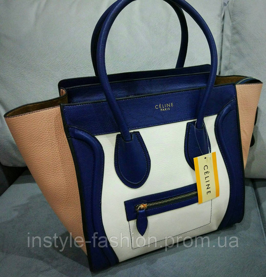 Женская стильная сумочка Celine цвет синий с розовым