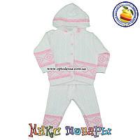 Вязаный костюм с капюшоном для девочек 6- 9 месяцев Один размер (4754)