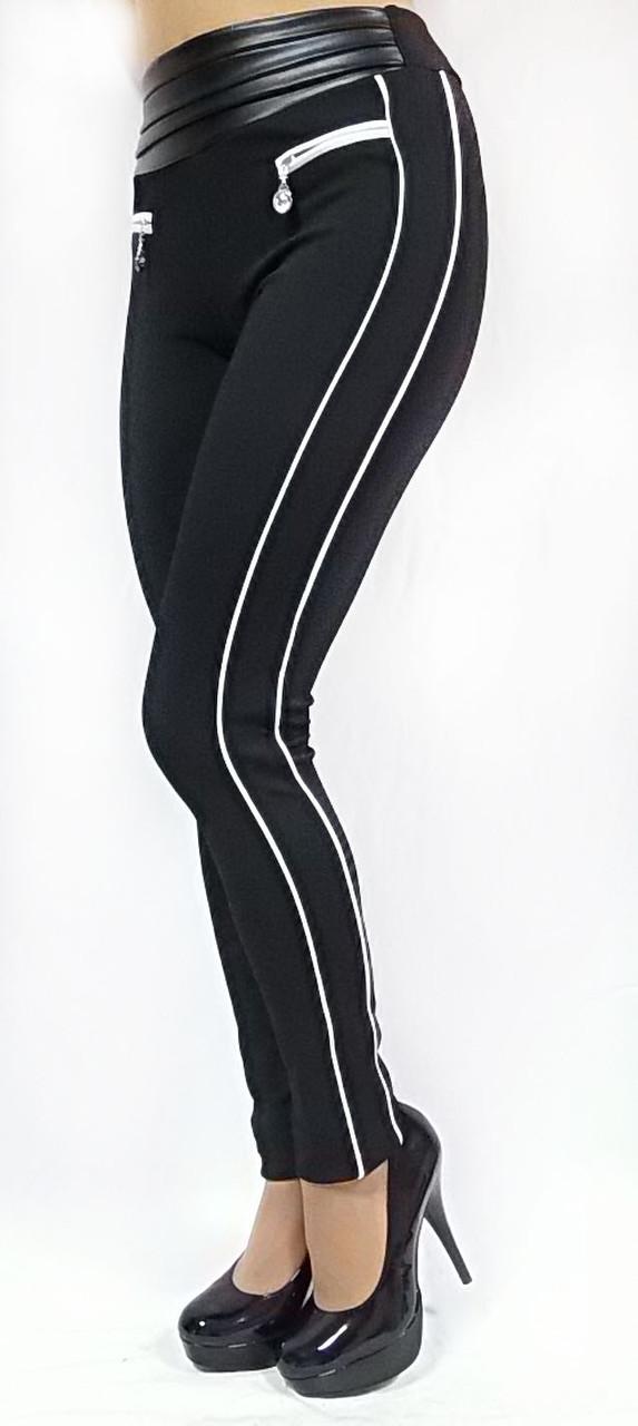 Жіночі брючні модель №132 чорні з шкіряним поясом на високій посадці