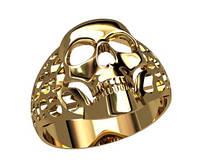 Фантастический мужской золотой перстень 585* в форме черепа