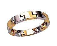 Комбинированное мужское золотое кольцо 585* пробы