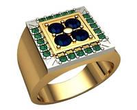Мужской золотой перстень 585* пробы с различными камнями