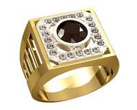 Выразительный мужской золотой перстень 585* пробы с внушительным камнем