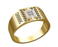 Небольшой золотой мужской перстень 585* пробы с Фианитами