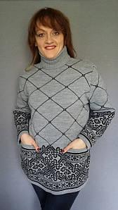 Женский вязаный свитер с карманами Узел