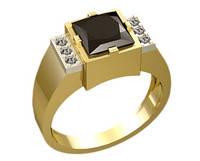 Золотой мужской перстень 585* пробы с квадратным камнем