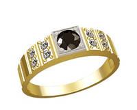 Легкий мужской золотой перстень 585* пробы с Фианитами