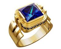 Неординарный мужской золотой перстень 585* пробы с выразительным камнем