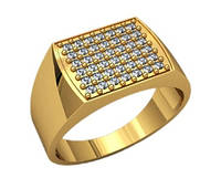 Классический мужской золотой перстень 585* пробы с площадкой камней