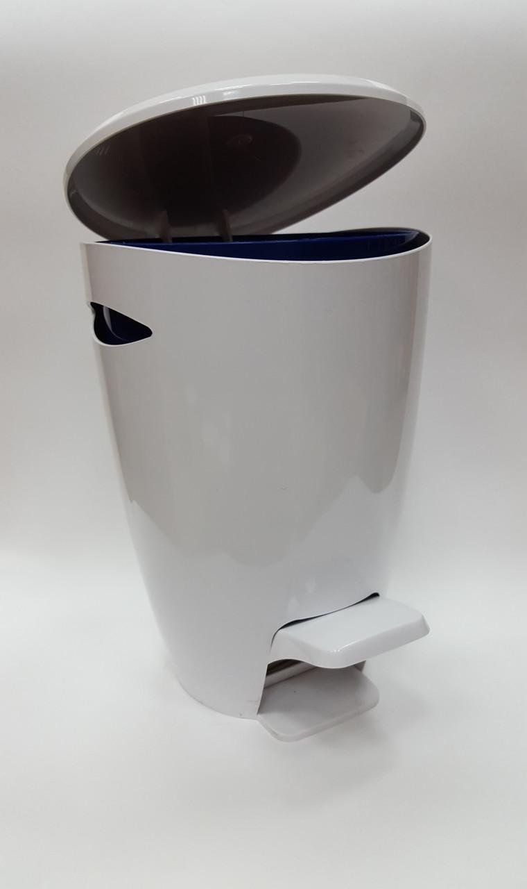 Ведро для мусора серия Фелиа цвет белый/синий
