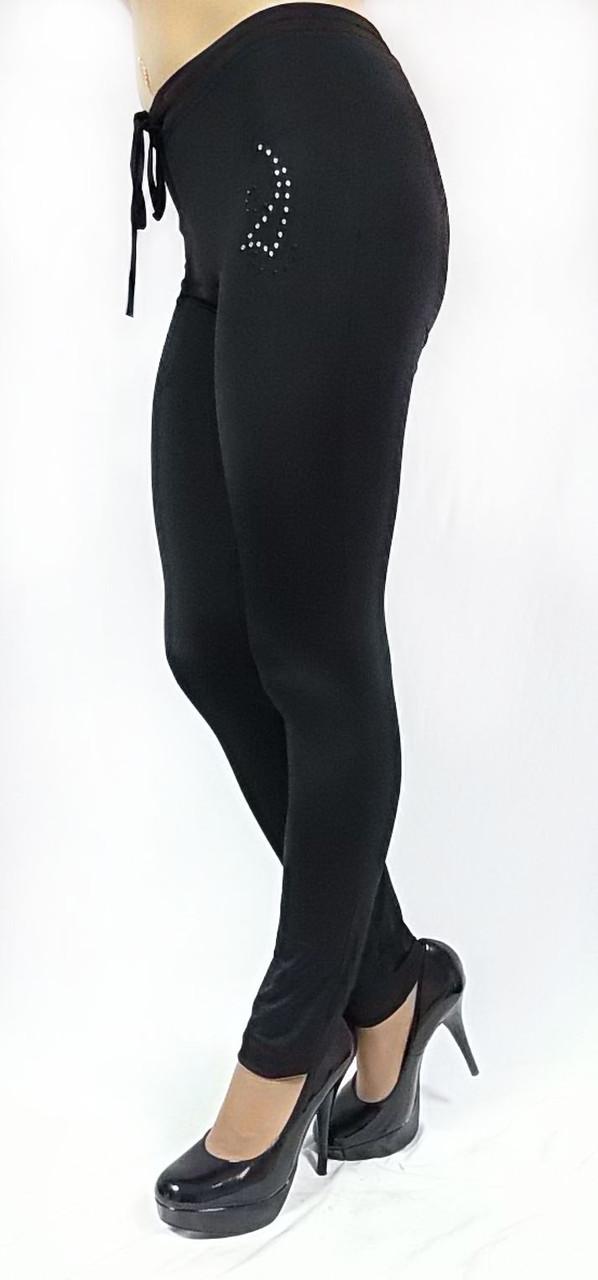 Брюки модель №113, черные со стразами