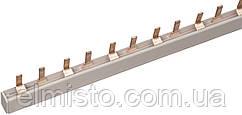Соединительная шина гребенка 1ф 1 п. PIN 63А мед. изол. 54мод (дл.1м) для автоматов