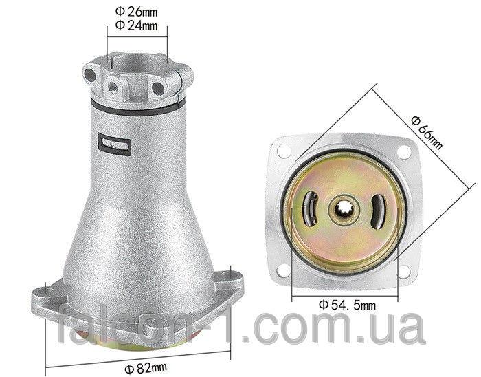 Редуктор верхний, квадрат 5/5, D трубы - 26 мм, D муфты - 66 мм (для мотокос)