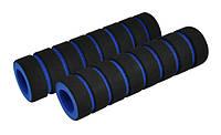 Ручки руля LONGUE 140мм с зажимом Lock с двух сторон, эргономические с рожками, чёрные