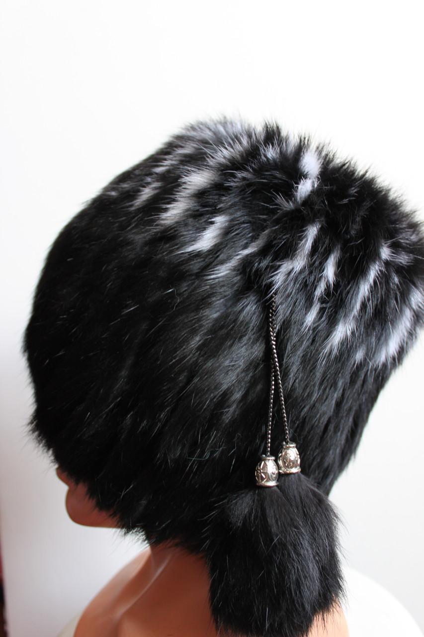 Женская меховая шапка из кролика на трикотажной основе, от производителя, черная кубанка