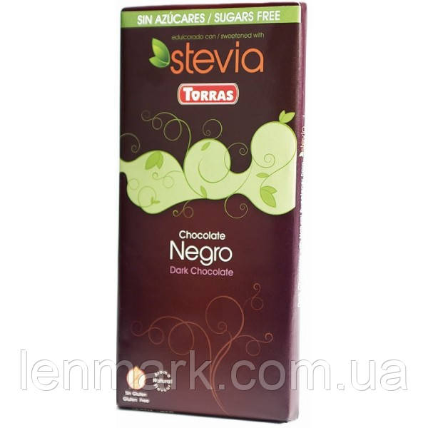 Черный шоколад без глютена и сахара Torras Stevia Negra, 100 г.