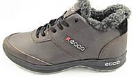 Ботинки  мужские с мехом  ECCO кожаные, коричневые р.43